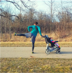 This is a stationary move. With at least one hand on the stroller, slowly lift your left leg out to the side as high as you can. Hold it at the top for a quick 3 count before gracefully lowering it back to the ground. Aim for 10 leg lifts on each side.