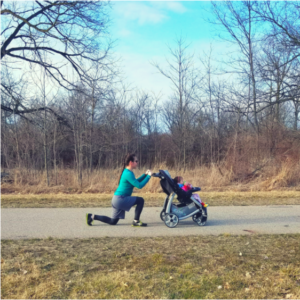 Keep both hands on the stroller as you lunge. Take a medium sized step forward. Bend both the front and back knee as you dip down. Don't let your front knee move forward past your toes. Go for a total of 30 lunges.
