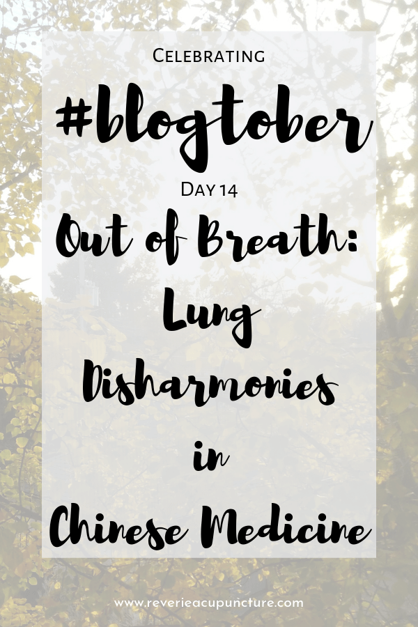 My last theory-heavy post for the month is going to be on the disharmonies of the Lung system. Like with the post on Liver disharmonies, I am going to discuss common patterns with the Lung system and what they might look like from a Western perspective as well as some general advice for preventing or coping with lung disharmonies.