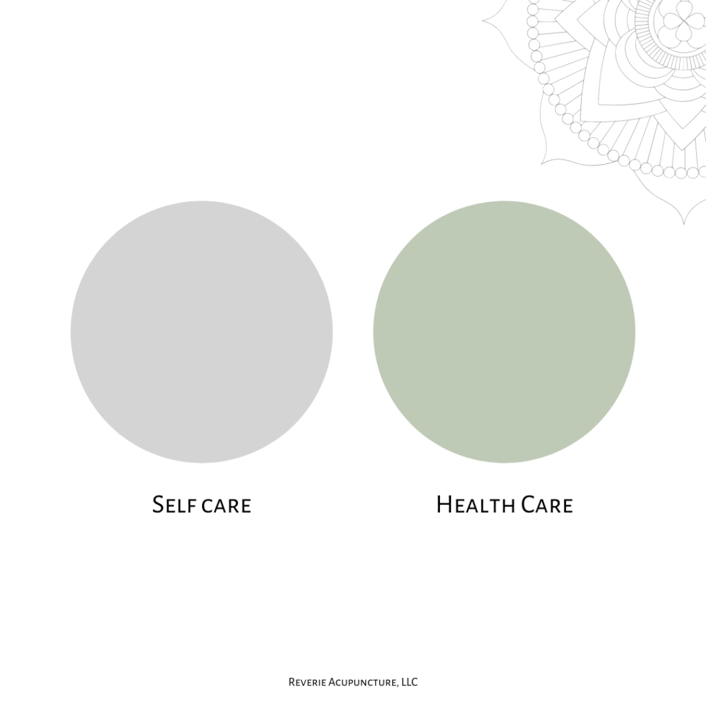 This was how I used to understand self care versus health care. Image of two circles, the left grey and the right green, labelled self care (on the left) and health care) on the right. There is a decorative stylized flower in the upper right hand corner.