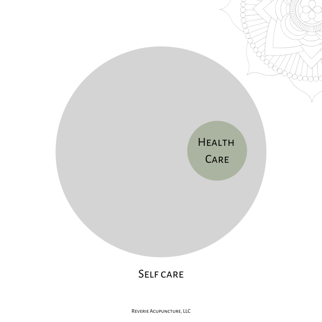 This was how I now understand self care versus health care. Image of two circles, the larger one is grey and inside the grey circle, there is a green circle. The grey circle is labelled self care and the green circle is labelled health care. There is a decorative stylized flower in the upper right hand corner.